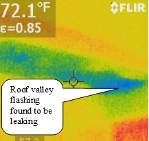 thermographic image showing roof leak